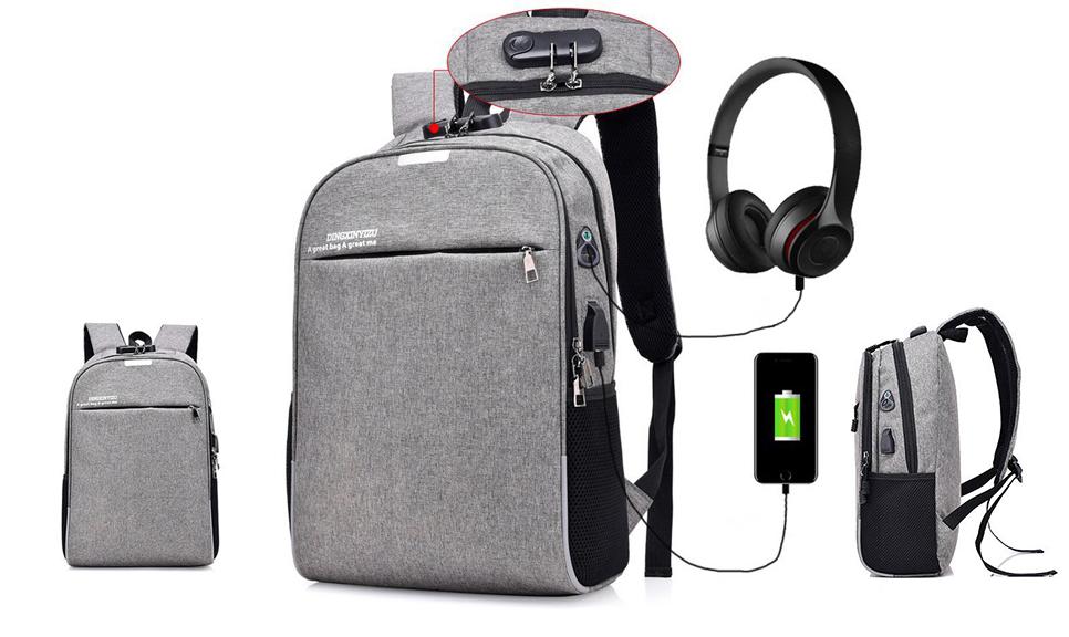 8bc69df9cd Αντικλεπτικό Σακίδιο Πλάτης με Θύρες USB και Ακουστικών με Κλειδαριά και  Πολλαπλές Θήκες Αποθήκευσης