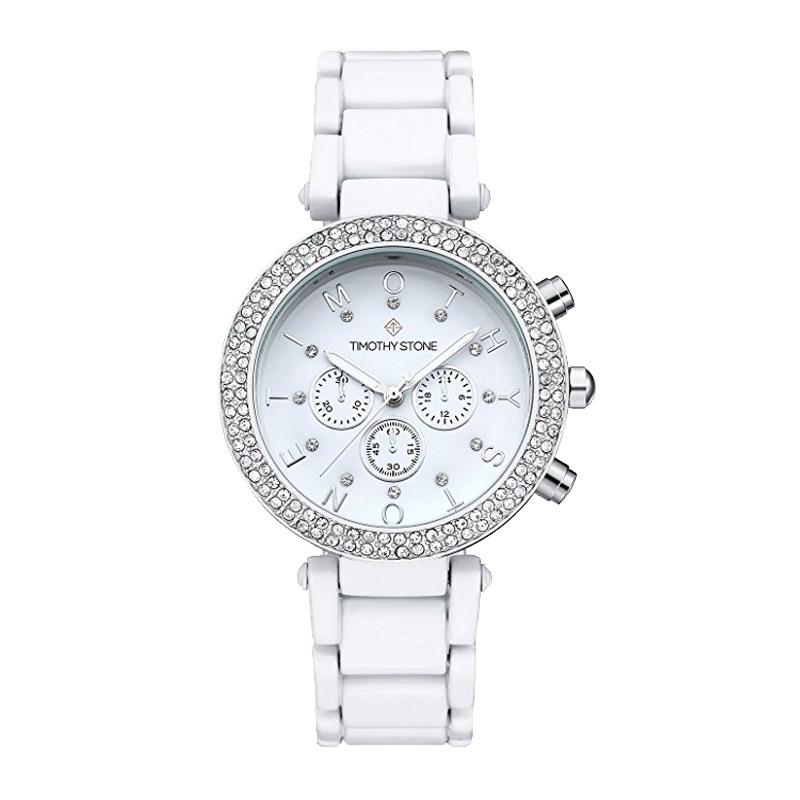 Finestdeals Γυναικείο Ρολόι Χρώματος Άσπρο με Μεταλλικό Μπρασελέ και  Κρύσταλλα Swarovski® Timothy Stone D-021 2673c749152