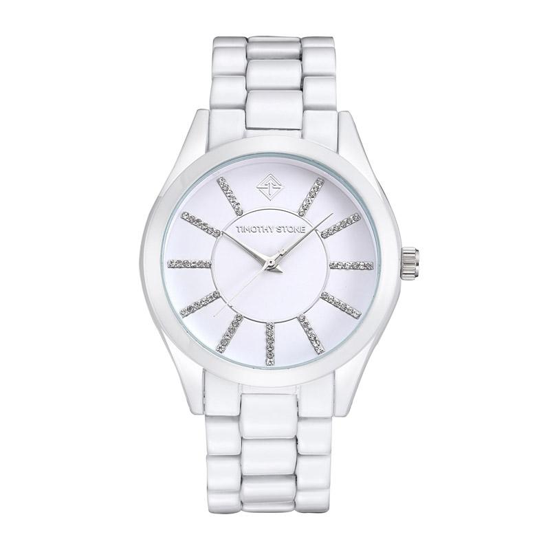 Γυναικείο Ρολόι Χρώματος Άσπρο με Μεταλλικό Μπρασελέ και Κρύσταλλα  Swarovski® Timothy Stone C-031 191dee7bdd0