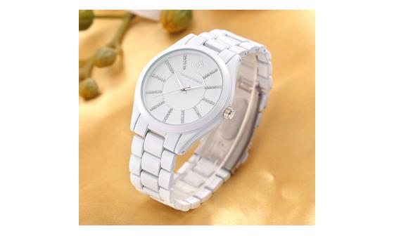 Γυναικείο Ρολόι Χρώματος Άσπρο με Μεταλλικό Μπρασελέ και Κρύσταλλα Swarovski®  Timothy Stone C-031-ALWH 968a8544ec9